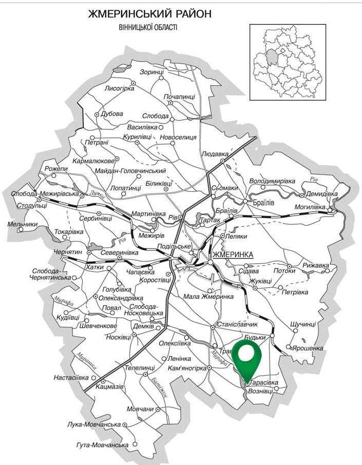 Село Тарасівка на карті Жмеринського району