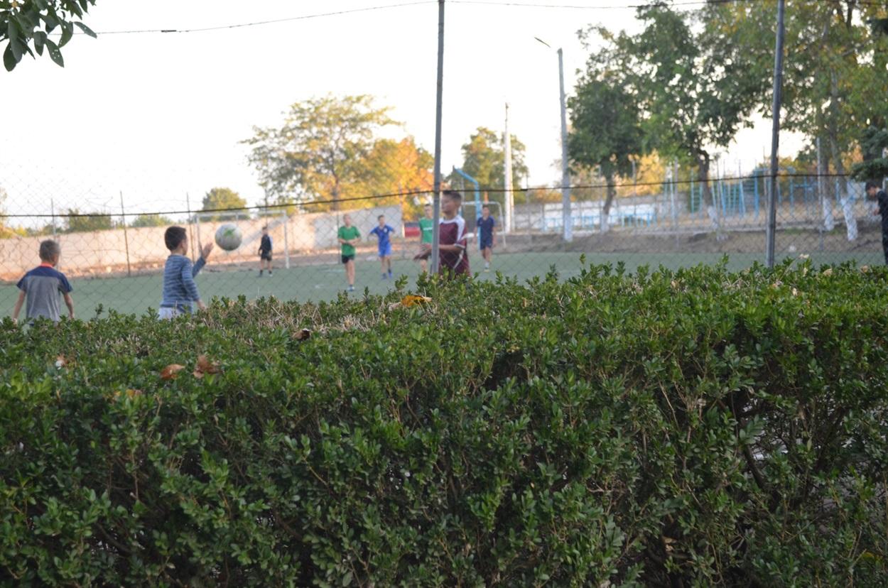 На подвір'ї сільської школи