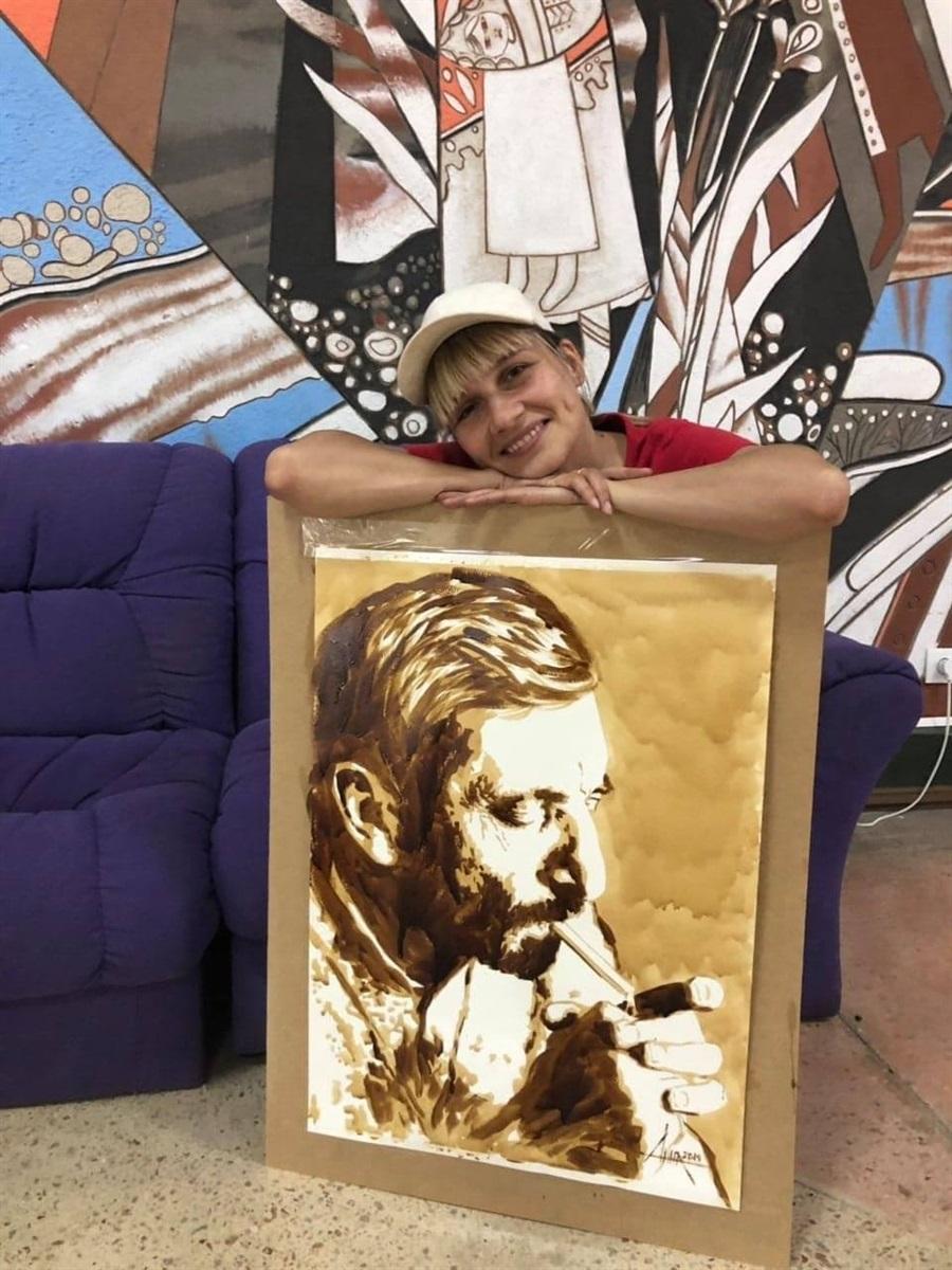 Портрет Бориса Єгіазаряна, створений за рекордно короткий час на відкритті його виставки